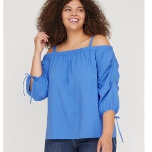 Lane Bryant Ruched Sleeve Off Shoulder Shirt